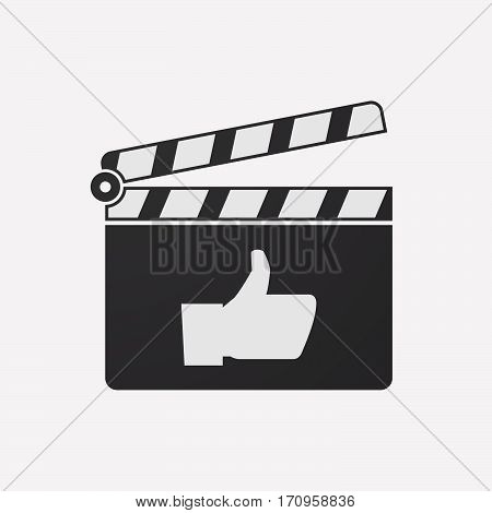 Isolated Clapper Board With A Thumb Up Hand