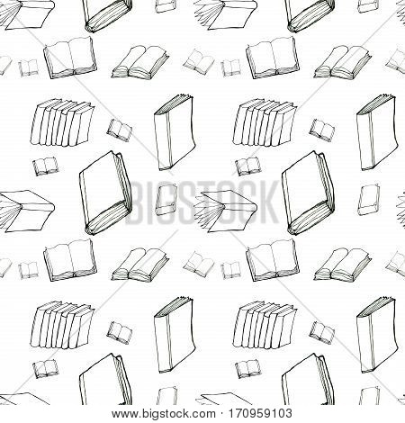 Seamless vector doodle black and white pattern with books. Library hand drawn sketchy background. Reading and education concept.