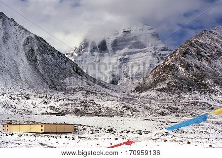 Misty morning after overnight snowfall at the North Face of sacred Mount Kailash in Western Tibet.