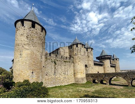Castle of Carcassonne France. Europe. Input from the Cite