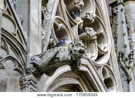 Gargoyle Cathedral Carcassonne France. Front Gate. Europe