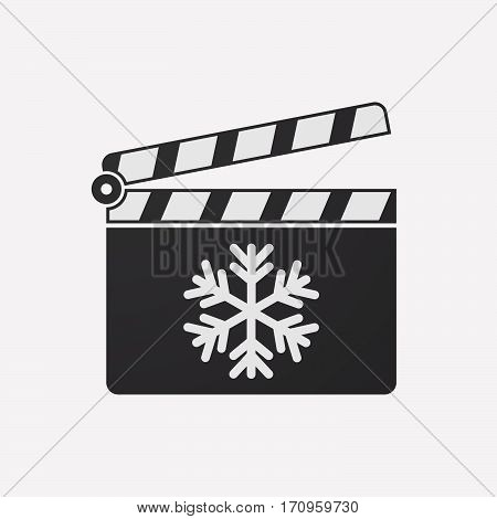 Isolated Clapper Board With A Snow Flake