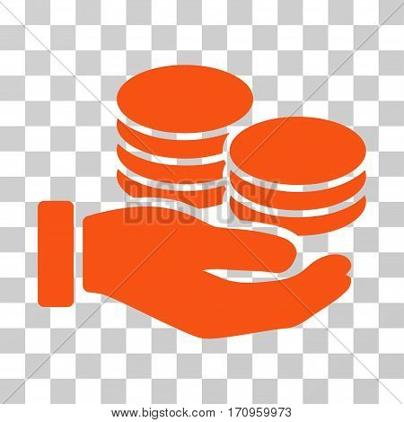 Salary Hand icon. Vector illustration style is flat iconic symbol orange color transparent background. Designed for web and software interfaces.