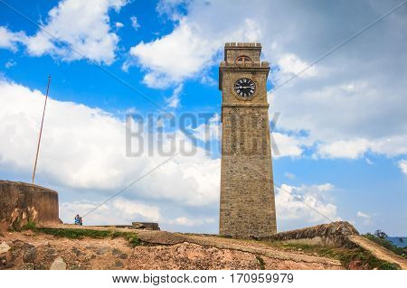 View with clock tower in Galle, Sri Lanka