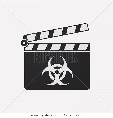 Isolated Clapper Board With A Biohazard Sign