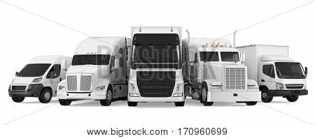 Fleet of Freight Transportation isolated on white background. 3D render