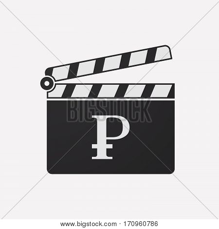 Isolated Clapper Board With A Ruble Sign