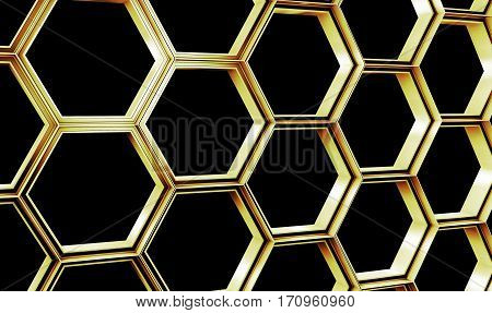 Hexagonal abstract wall background. 3d Illustration. Nano structure