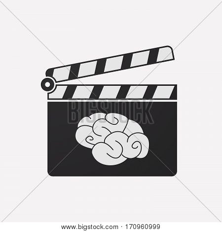 Isolated Clapper Board With A Brain