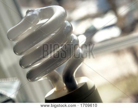 Compact Fluorescent Light Bulb Near Window