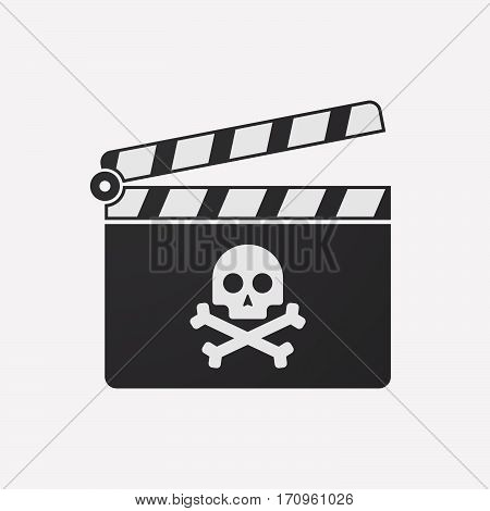 Isolated Clapper Board With A Skull