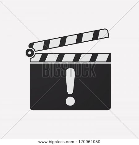 Isolated Clapper Board With An Exclamarion Sign
