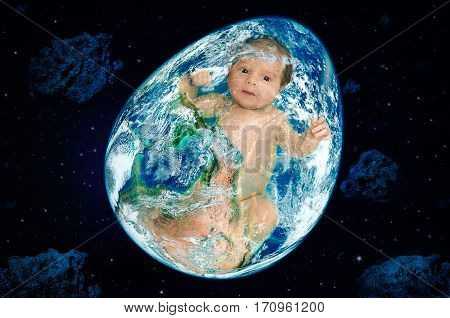 Planet in the form of egg with a baby inside in outer space. Elements of this image furnished by NASA.