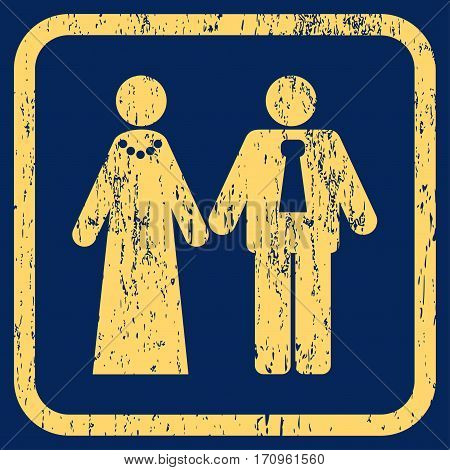 Newlyweds rubber watermark. Vector icon symbol inside rounded rectangle with grunge design and scratched texture. Stamp seal illustration. Unclean yellow ink emblem on a blue background.