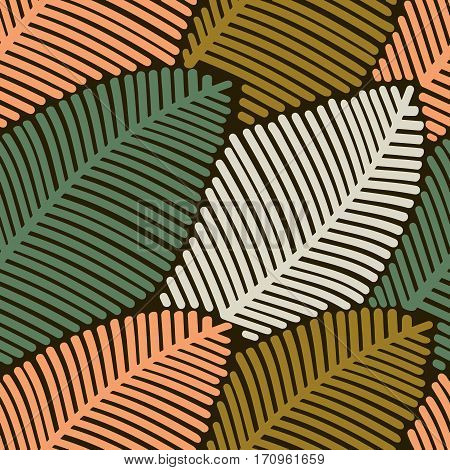 Seamless pattern of colored autumn stilized leaves. Decorative template leaf texture.