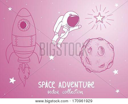 cute astonaut catch the stars.Cosmic adventure.Cartoon childish vector illustration