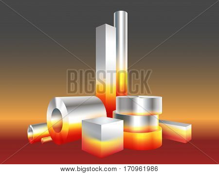 Group different melt hot metal steel objects. Vector illustration.
