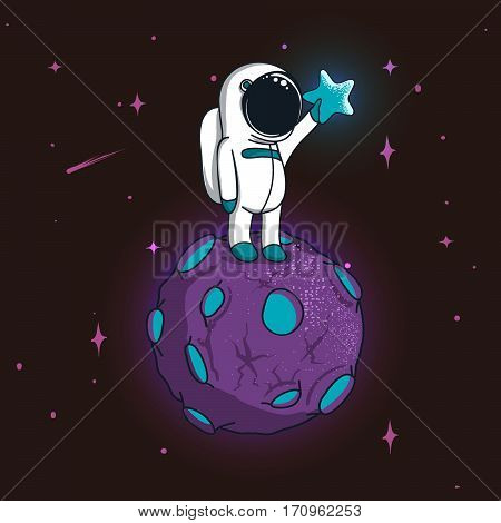 Cute spaceman stand on magic planet and keeps a star.Childsh illustration