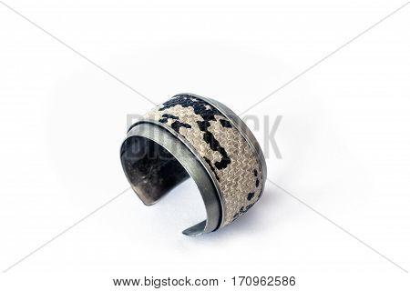 Fake snake skin bracelet, isolated on white background