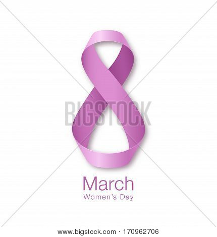 March 8 - Womens Day Paper Design of greeting card template. International Women's day Realistic symbol of pink purple ribbon isolated on white background. Vector illustration.