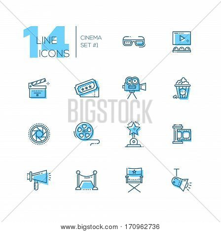 CInema and movie - set of modern vector line design icons with accent color. 3d glasses, film, pop corn, camera, award, ticket, movie hall, clapperboard, roll, megaphone, red carpet, director chair, light shutter. Material design concept symbols