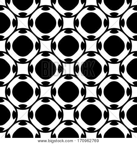 Vector seamless pattern, abstract black & white repeat texture. Simple geometric figures, perforated circles, rounded squares. Endless monochrome background. Design for tileable print, textile, cloth, fabric, decoration