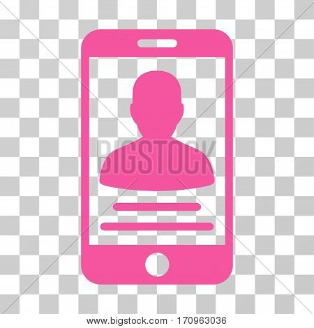 Mobile Account icon. Vector illustration style is flat iconic symbol pink color transparent background. Designed for web and software interfaces.