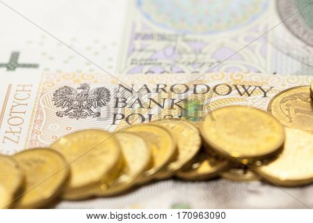 Polish banknotes photographed close-up. Shown details of bills. International designation - PLN