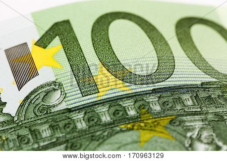 photographed details of banknote in a hundred euros. Small depth of field.