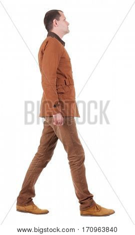 Back view of going  handsome man in jeans and jacket.  walking young guy in jeans and  jacket. Rear view people collection.  backside view of person.  Isolated over white background.