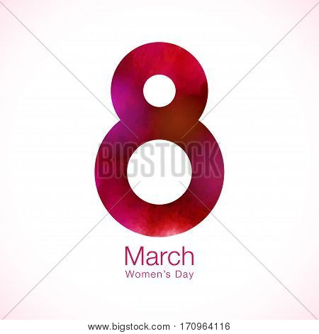 March 8 - Womens Day paper design of greeting card template.  Symbol of International Women's day bright red purple watercolor on white background. Vector illustration.