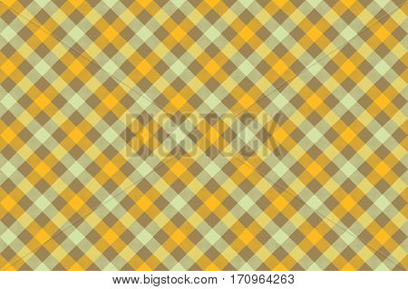 Yellow check diagonal fabric texture background seamless pattern. Vector illustration. EPS 10.