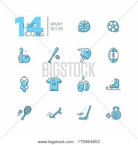 Kinds of sport - modern vector line design icons set with accent color. Basketbal, football, bowling, baseball, ping-pong, rugby, swimming, t-shirt, boxing, skating, tennis skate boarding hockey weight lifting. Material design concept symbols