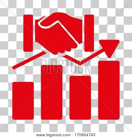Acquisition Graph icon. Vector illustration style is flat iconic symbol red color transparent background. Designed for web and software interfaces.
