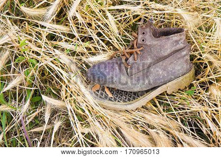 Old broken boot abandoned in a dry grass carpet