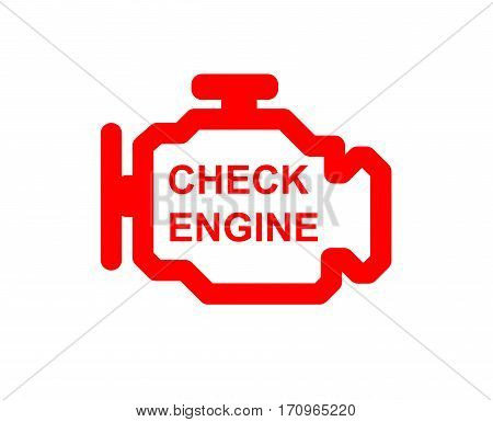 Malfunction or check engine car symbol, dash board close up