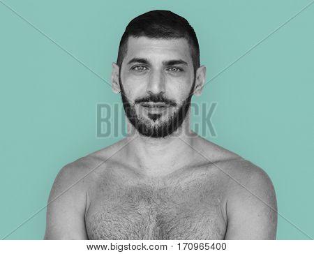 Caucasian Topless Man Smiling Pose