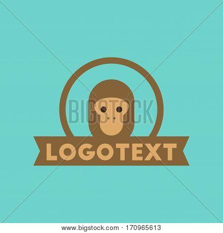 flat icon on stylish background monkey logo