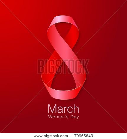 March 8 - Womens Day Paper Design of greeting card template. International Women's day Realistic symbol of red ribbon on dark red background.  Vector illustration.