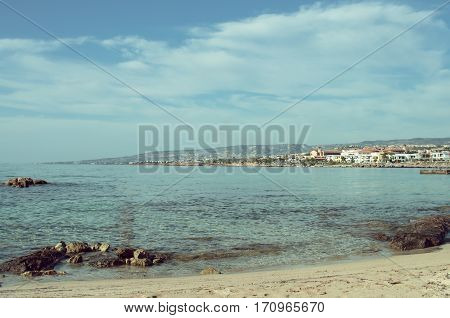 View of the littoral Paphos from distanse coastline seascape