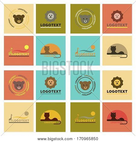 assembly of flat icons nature logo bear lion giraffe penguin snake monkey bird bull