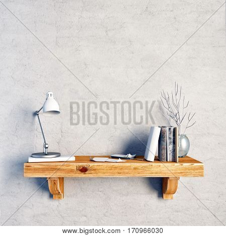 3d illustration still life on a shelf. loft style. wall mock up