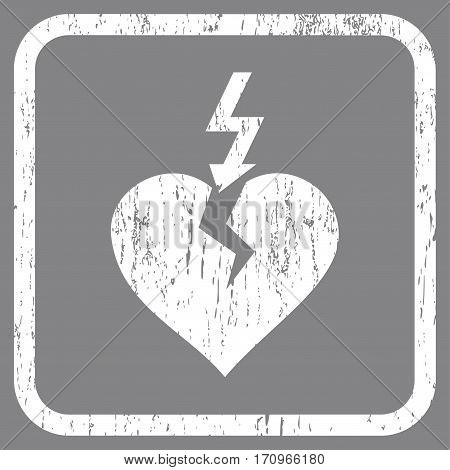 Break Heart rubber watermark. Vector pictogram symbol inside rounded rectangle with grunge design and dust texture. Stamp seal illustration. Unclean white ink sticker on a gray background.