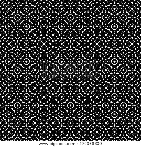 Vector monochrome seamless pattern, repeat ornamental texture, oriental style. Abstract black & white mosaic background. Endless geometric texture. Design for prints, fabric, textile, napkin, decoration