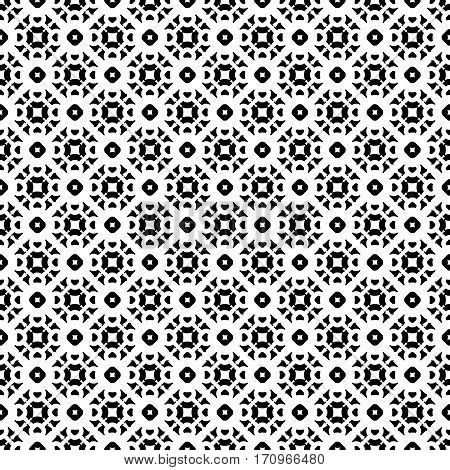Vector monochrome seamless pattern, subtle geometric texture. Black & white abstract background, traditional motif, oriental style. Repeat tiles. Design for prints, decoration, textile, cloth, digital, web