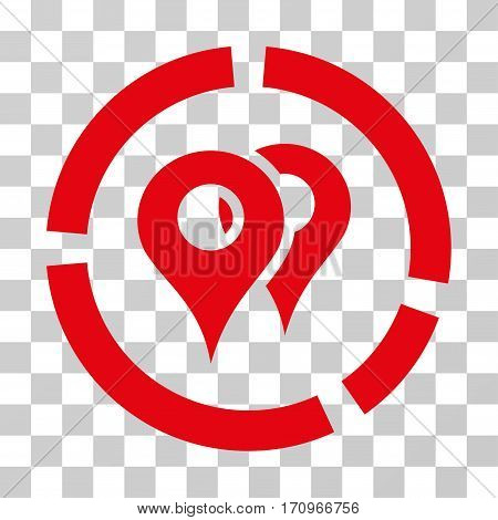 Geo Diagram icon. Vector illustration style is flat iconic symbol red color transparent background. Designed for web and software interfaces.