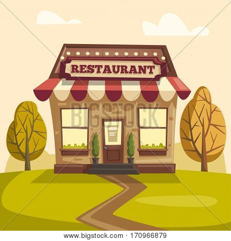 Landscape with building restaurant or cafe. Exterior building. Vector cartoon illustration. Nature and trees. Food and drink
