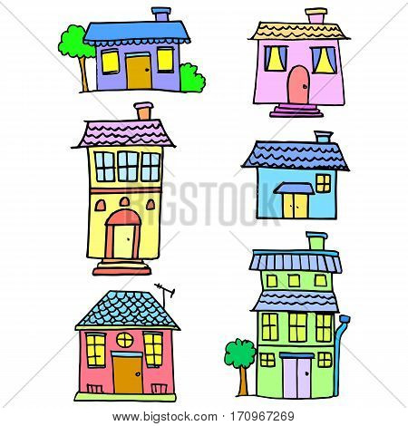Collection stock of house set design vector illustration
