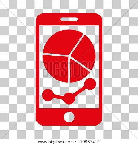 Mobile Graphs icon. Vector illustration style is flat iconic symbol red color transparent background. Designed for web and software interfaces.