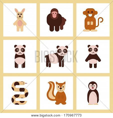 assembly of flat icons nature Panda monkey rabbit snake squirrel penguins
